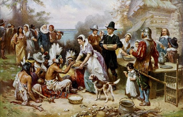 The First Thanksgiving 1621, oil on canvas by Jean Leon Gerome Ferris (1899). The painting shows common misconceptions about the event that persist to modern times: Pilgrims did not wear such outfits, and the Wampanoag are dressed in the style of Native Americans from the Great Plains.